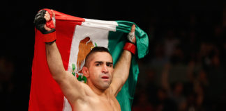 MEXICO CITY, MEXICO - NOVEMBER 15: Ricardo Lamas celebrates his submission victory over Dennis Bermudez in their featherweight bout during the UFC 180 event at Arena Ciudad de Mexico on November 15, 2014 in Mexico City, Mexico. (Photo by Josh Hedges/Zuffa LLC/Zuffa LLC via Getty Images)